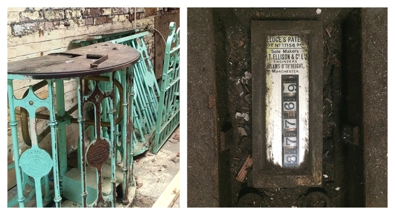 Original Edwardian cast iron turnstiles at Withington Swimming Baths