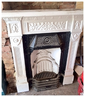 Unrestored Scotia cast iron fireplace