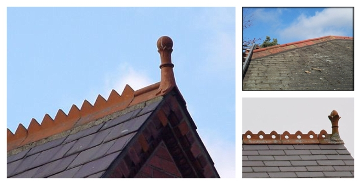 Decorative Victorian / Edwardian terracotta ridge tiles