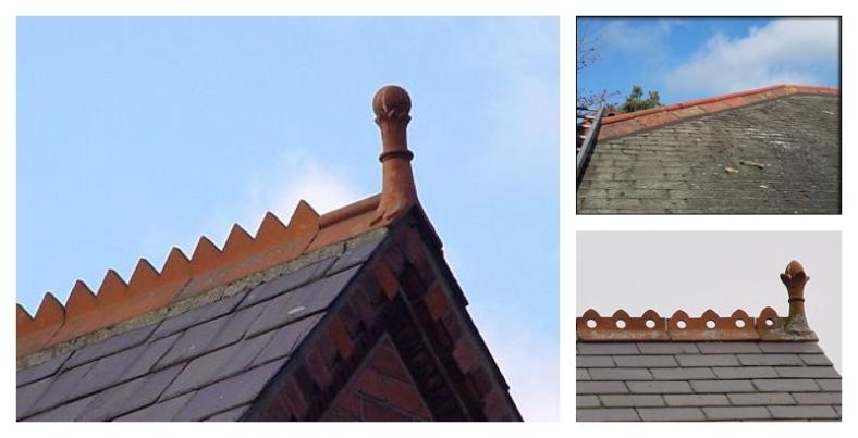 Decorative Victorian / Edwardian terracotta ridge tiles