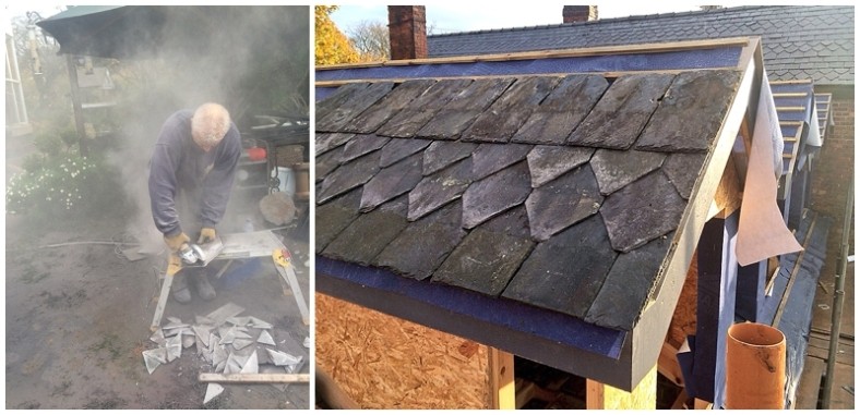 Fishtail slates being fitted to a new dormer roof