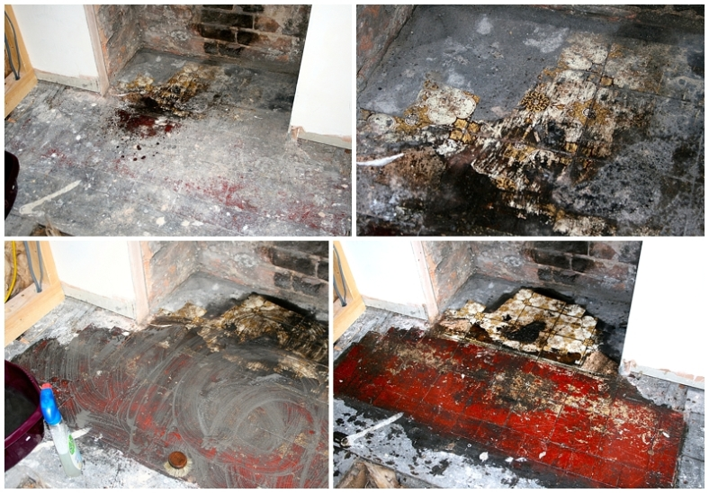 Cleaning up Edwardian hearth tiles