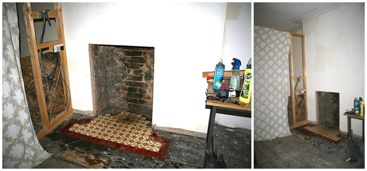 Edwardian hearth tiles cleaned and revealed