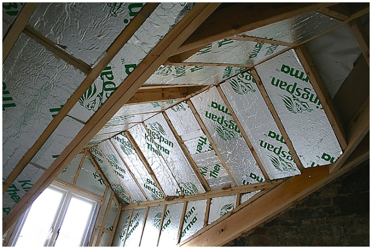 Kingspan rigid insulation in timber dormer ceiling and roof