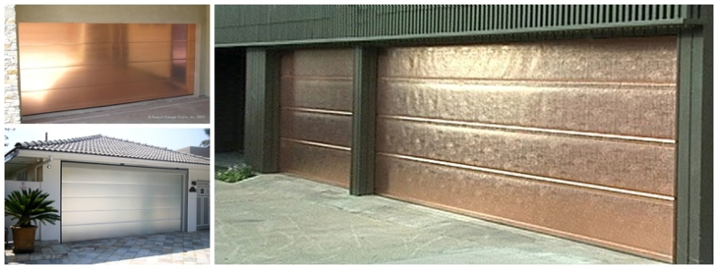 Copper and brushed aluminium garage doors