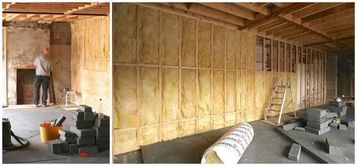 Acoustic insulation on party wall