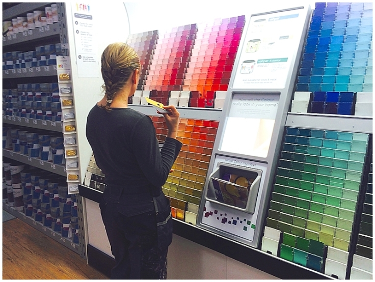 Sian Astley lady builder choosing Valspar paint colour