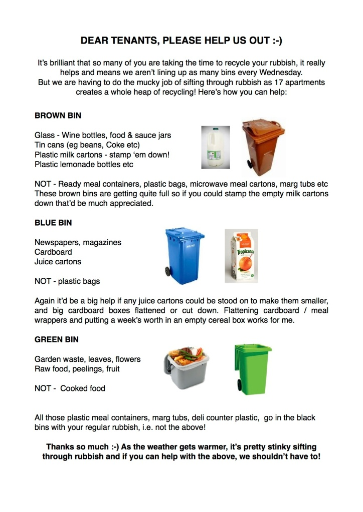 Recycling Help Info Sheet for Tenants