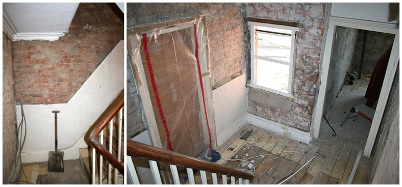 Removing old plaster in Edwardian hallway