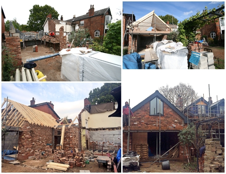 Building progression of reclaimed brick garage