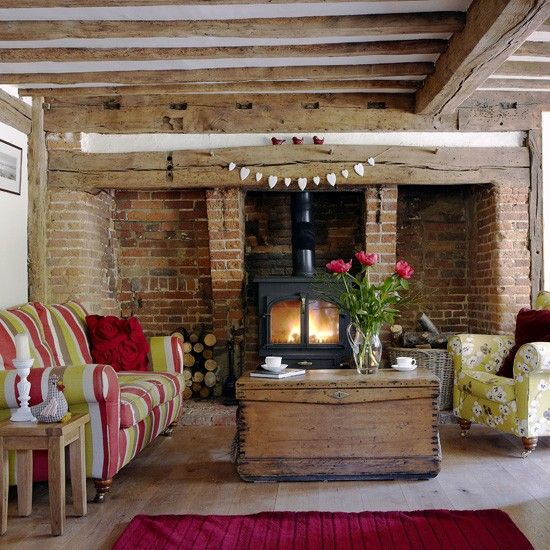 Country cottage look using exposed brick