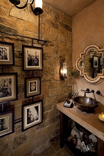 Tuscan Powder Room on HomeDesignLover.com