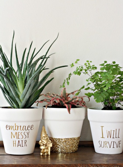 Gold Foil Lettering on plant pots by Nest of Posies