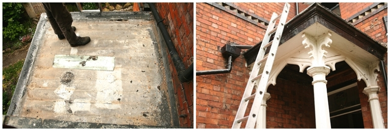 Leaking lead porch roof to period property