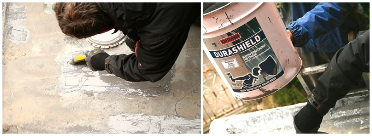Durashield rubber paint being used on porch roof