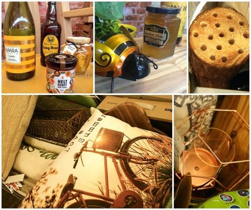 Golden honey bee inspired garden accessories