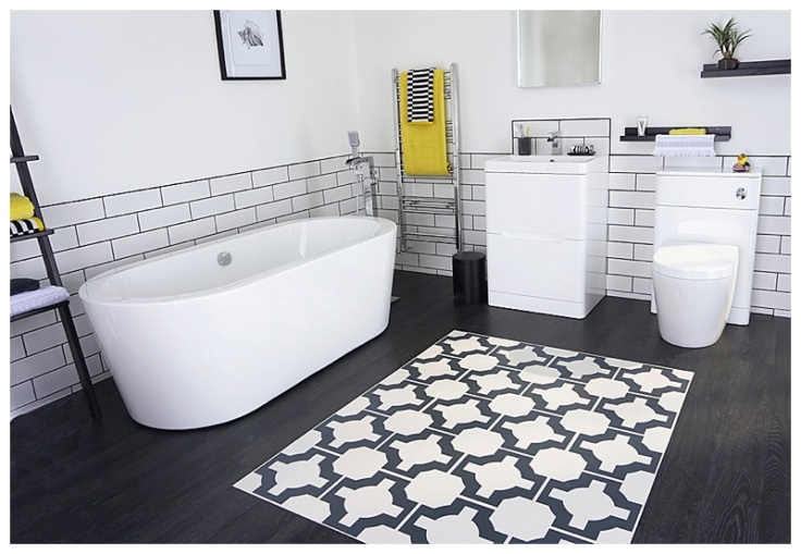 Gorgeous bathroom flooring using vinyl tiles and zoned areas