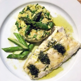 Cauliflower Couscous & Minty Hake