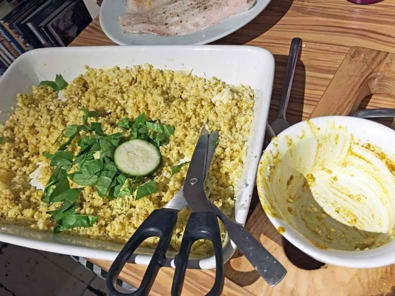 Cauliflower Couscous & Minty Hake