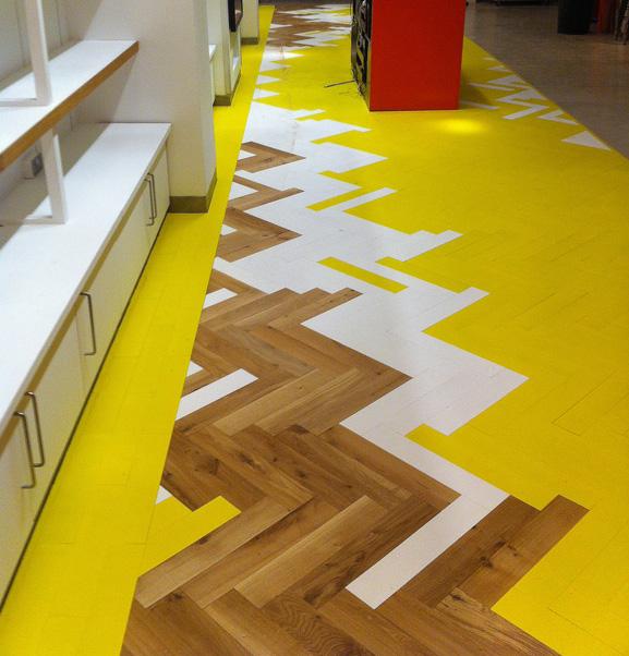 Classic Parquet yellow herringbone floor