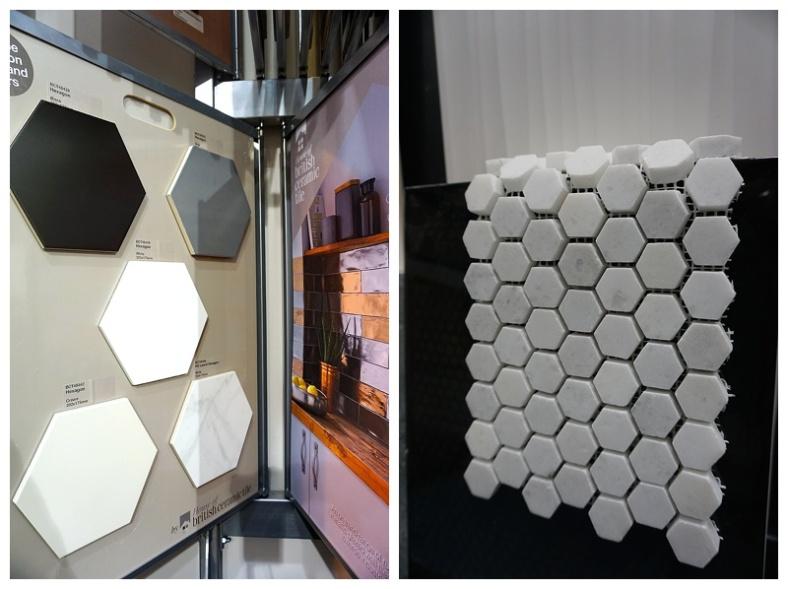 Marble hexagon wall tile