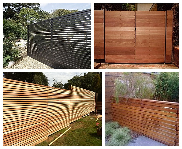 Contemporary horizontal slat fence panels
