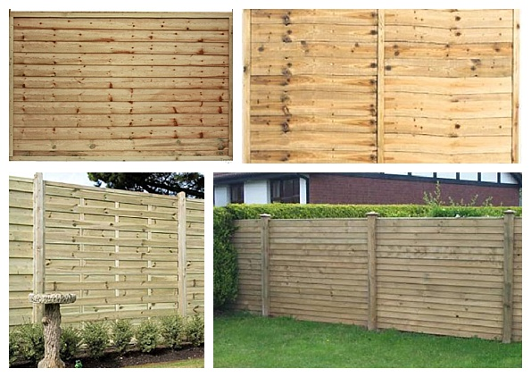Simple horizontal slat fence panels
