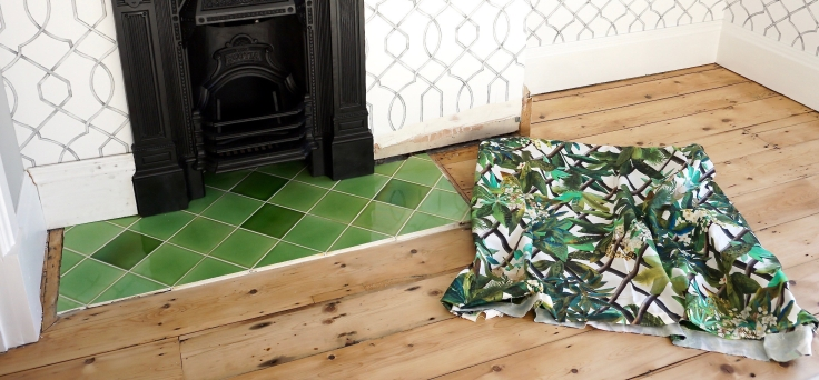Green botanical fabric with green tiling