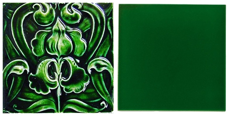 Emerald green fireplace tiles