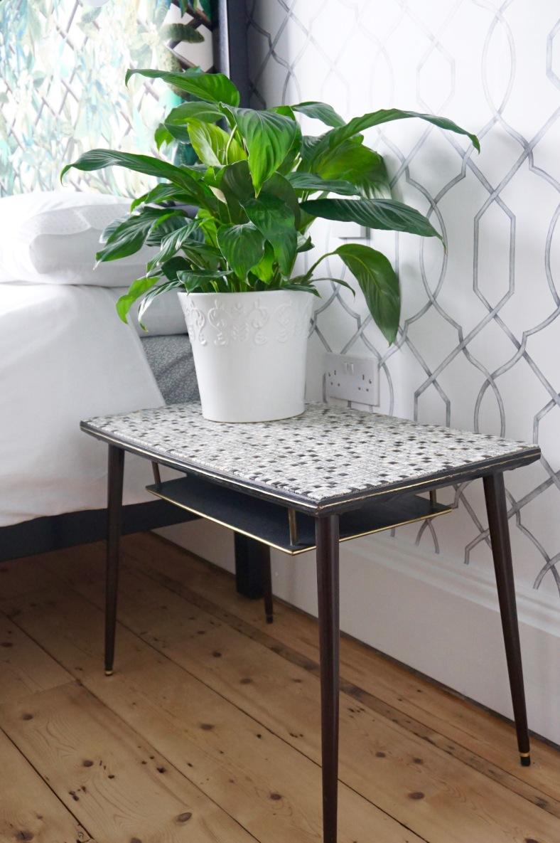 Vintage monochrome bedside table