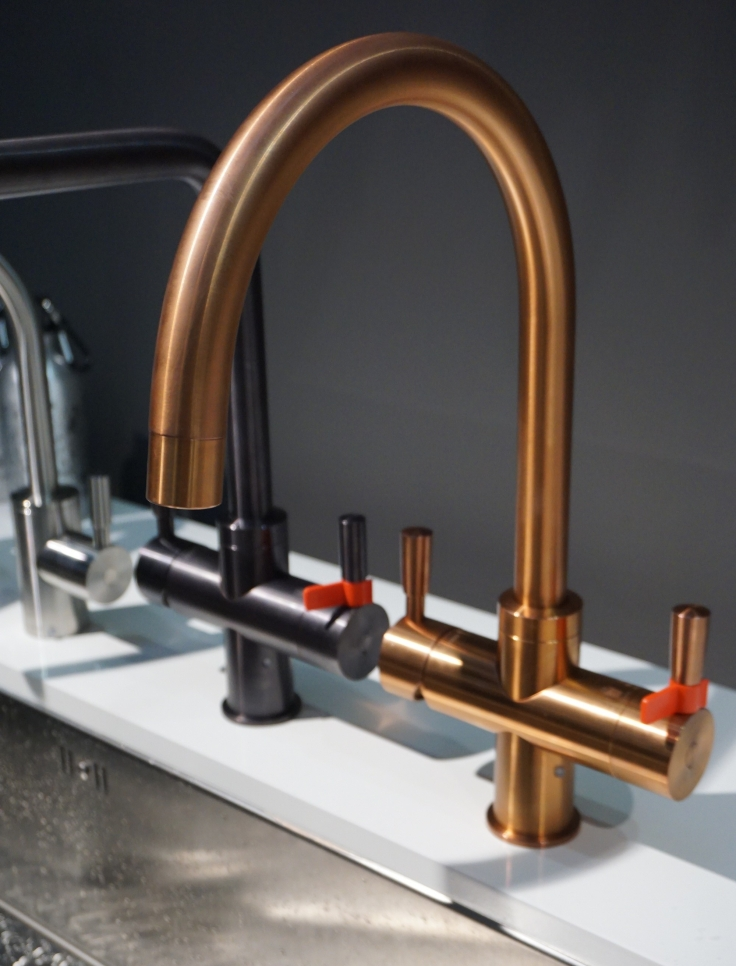 Franke hot water tap in copper