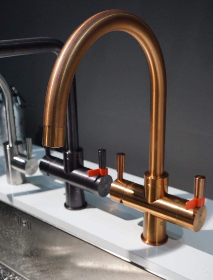 Franke hot water tap in copper