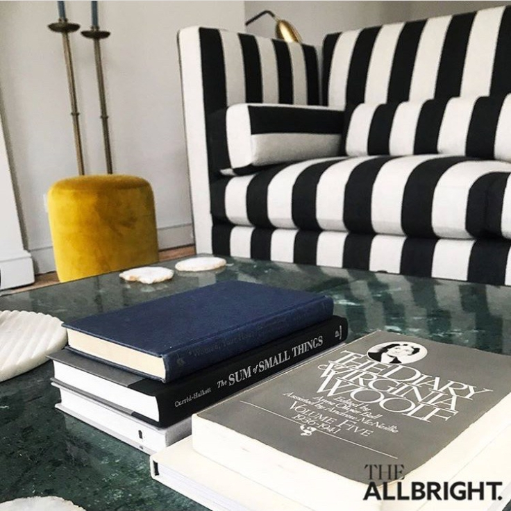 Black & White striped sofa at All Bright