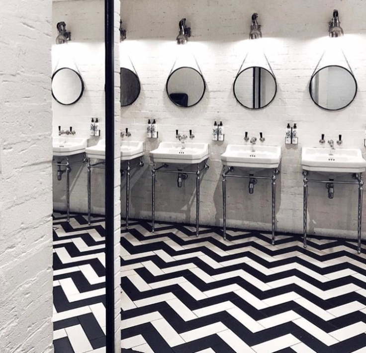 The Hoxton London Chevron floor in loos